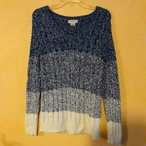 Block Stripe Knit Navy Blue and White Sweater